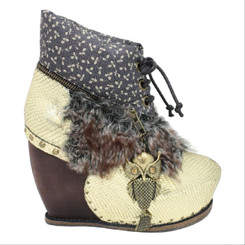 Irregular Choice Bun in the Oven, Platform Fur, Funky boot, peacock boot