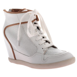 Women's Shoes, Carly by Nicole, Hidden Wedge Sporty High Top- White and Brown Piping