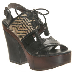 Bacio 61 Soffio, Womens Wooden Retro High Heel Sanda. Tribal Lace up open toe