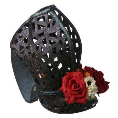 Irregular Choice Chocolate Banana Smt, Contour laser cut leather curved high heel