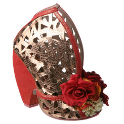 Irregular Choice Chocolate Banana Smt, Contour laser cut leather curved high heel, Red