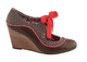 Side View: Women's Shoes, Poetic Licence Brightly Beaming, new chestnut, Retro wooden wedge with polka dots