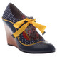 Quarter View: Women's Shoe, Poetic Licence Brightly Beaming, new chestnut, Retro wooden wedge with polka dots, Dark Navy, Yellow Ribbon Tie, Size 6.5