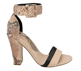 Nicole Barri Sandal- Women's High Heel Ankle Strap Sandal- Pink Black & Reptile