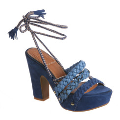 Bacio 61 Pandino Sandal, Women's High Heel Platform Wrap Ankle Sandal, Bold Blue Color