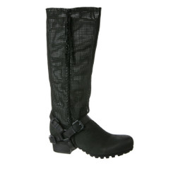 Bacio 61 Palpare boot, Women's knee high leather boot with buckles straps at base- black