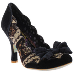 Irregular Choice Beach Trip- Women's Pump with Bow front and mix pattern- Black & Cream