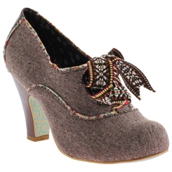 Irregular Choice Summer Berry- Womens Brown Tweed Ankle boot with contrast piping.
