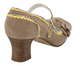 Back View: Women's Shoes,Poetic Licence Adjenda, High Heel Mary Jane- Natural and yellow edging