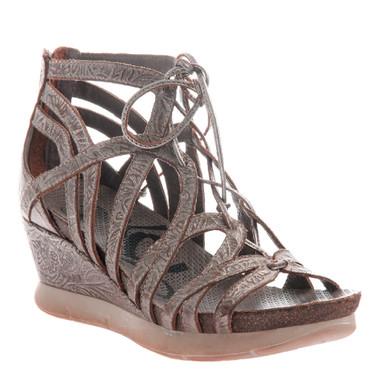 """Quarter View: OTBT- Nomadic Sandal- Women's Platform Leather Gladiator Sandal with 2.5"""" Wedge Heel- Light Pewter Color"""