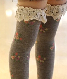 Berky Boo- Cocoa Knee Socks- Floral printed knee socks with lace trim- Grey heather