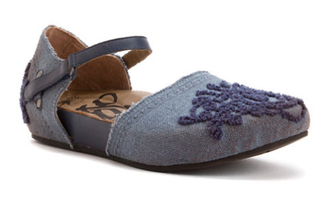 Quarter View: Women's Shoes, OTBT Kalamazoo- Women's Flat Mary Jane Clog- Slate Blue Denim