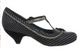 Irregular Choice Parakeet, T-strap Mary Janes with Flower, black and grey