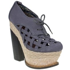 Irregular Choice Cupid's Sun Hat, Grey Canvas Lattice Platform