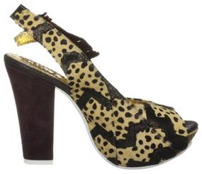 Irregular Choice Green Fly, Leopard Animal Print slingback High Heel with giraffe
