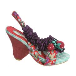 Irregular Choice Raspberry Ripples, Wooden Heel Slingback Sandal with Strawberry Charm- Grey Purple Color
