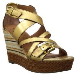 Nicole Danica- Women's Wedge Sandal with criss cross straps, striped heel, color Gold