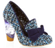Irregular Choice Oz 2, High Heel loafer with Tweed and oversized bow- Blue Colorway