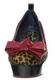 Women's Platform Flat. Irregular Choice Flatform Shoe- Cherry Kiss- Animal Print and Red Bow- color way Black