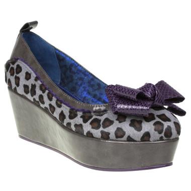 Women's Platform Flat. Irregular Choice Flatform Shoe- Cherry Kiss- Animal Print and Red Bow- color way Grey