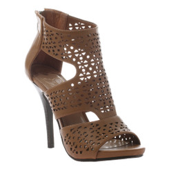 Women's Sandals, Madeline Girl Ravaging, Open toe high heel sandal with cut out pattern. Color Brown (bark)