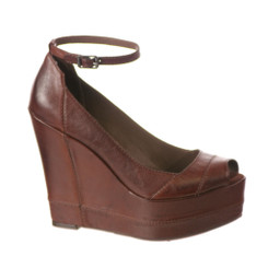 Women's Shoes, Bacio 61 Notizia, Women's Wedge, Brown Leather ankle strap- Deep Earth