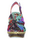 Womens's Shoes, Irregular Choice Amys Lasagne Wedge Sandal, Abstract twist front fabric and slingback, multicolor- Tan Green