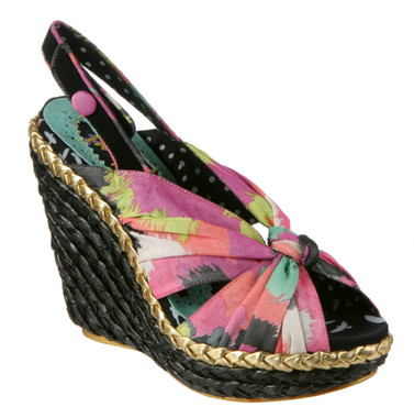 Womens's Shoes, Irregular Choice Amys Lasagne Wedge Sandal, Abstract twist front fabric and slingback, multicolor- Black wedge