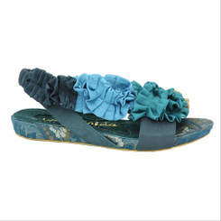 Women's Shoes, Irregular Choice Bingos Best, Platform flat slingback sandal, ruffles, colorway Navy (Teal)