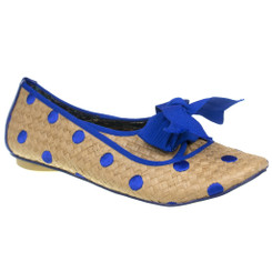 Women's Flats, Irregular Choice Kiss on the Lips.  Wicker Flat with polka dots, piping and oversized bow. Blue