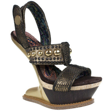 Women's Shoes, Irregular Choice Enchantment, Heel- less platform, GOLD leather with metal studs