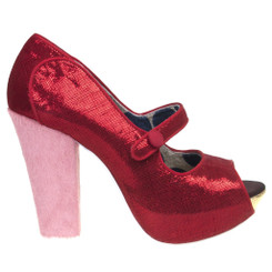 Women's Pump, Irregular Choice Sightseeing, Metallic red peep toe mary jane pump, pink suede covered heel