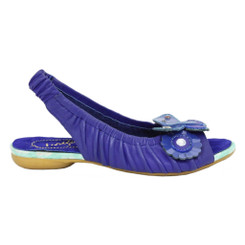 Women's Sandal, Irregular Choice Love Birds, Sling back leather sandal with floral appliqu_______- Blue