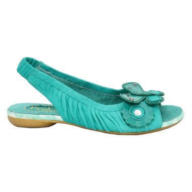 Women's Sandal, Irregular Choice Love Birds, Sling back leather sandal with floral appliqu_______- Green