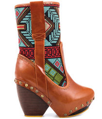 Women's Boots, Irregular Choice Mandarin, Embroidered Cowboy boot- Black