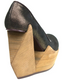 Women's Shoes, Irregular Choice Quantum, Platform cut out wedge, Leather, Brown Gold Shimmer
