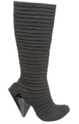 Side View: Women's Shoe, Tall Pleated Fabric Knee High Boot, Gem Cut Heel, Dark Charcoal Grey