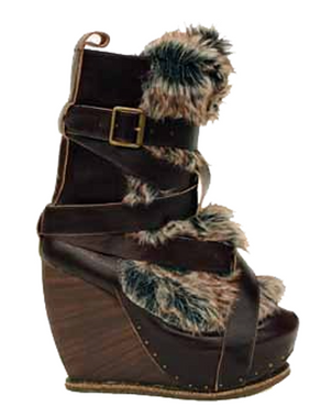Women's Shoes, Irregular Choice The Beast, Platform Leather Wedge boot with Buckles and faux fur, Dark Brown