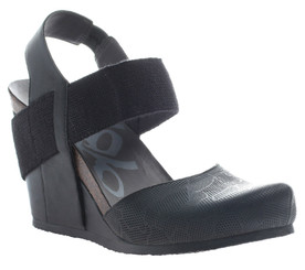 OTBT Rexburg- Women's Wedge with Elastic, Black with same color elastic, Textured Leather