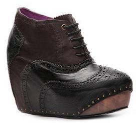 Women's Shoes, Women's unique shoes, Irregular Choice What an Angel, Oxford Style Lace up Wedge platform, Color Black