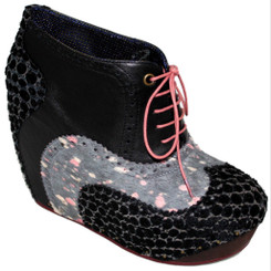 Women's Shoes, Women's unique shoes, Irregular Choice What an Angel, Oxford Style Lace up Wedge platform, Mix patterns, Colorway Black Lavender