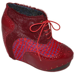 Women's Shoes, Women's unique shoes, Irregular Choice What an Angel, Oxford Style Lace up Wedge platform, Mix leather, pony hair and patterns, Colorway Red