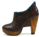 Women's Shoes, Irregular Choice Zubes, Leather platform bootie with pleated leather, Brown