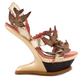 Women's Shoes, Irregular Choice Love Dove, Heel less platform in Gold and Pink, Snakeskin texture straps with Gold Dove brooches.