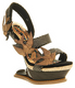 Women's Shoes, Irregular Choice Love Dove, Heel less platform in Brown Pewter, Snakeskin texture straps with Gold Dove brooches.