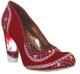 Women's Shoes, Irregular Choice Summer Bucket, High Heel Embroidered pump with lucite heel, Red
