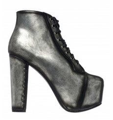 "Side View: Women's Shoes, Women's Bootie, Jeffrey Campbell Lita Boot, Metallic brushed pewter, platform boot with 5"" heel and covered 2"" front platform."