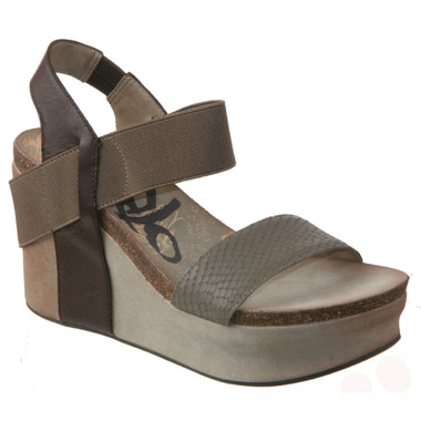 Women's Shoes, OTBT Bushnell, Open toe Wedge with elastic strap, Mint (Dk brown Bk Ankle strap, brown front ankle strap and taupe toe strap)