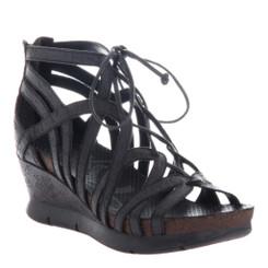 OTBT- Nomadic Sandal- Women's Platform Leather Gladiator Sandal with Wedge Heel- Black