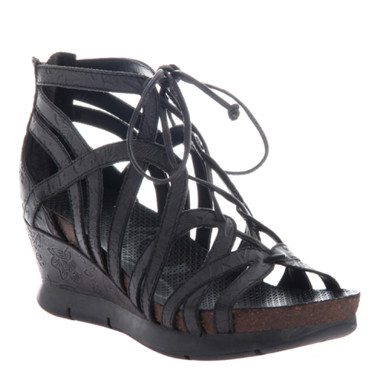 OTBT- Nomadic Sandal- Women's Platform Leather Gladiator Sandal with Wedge Heel- Black